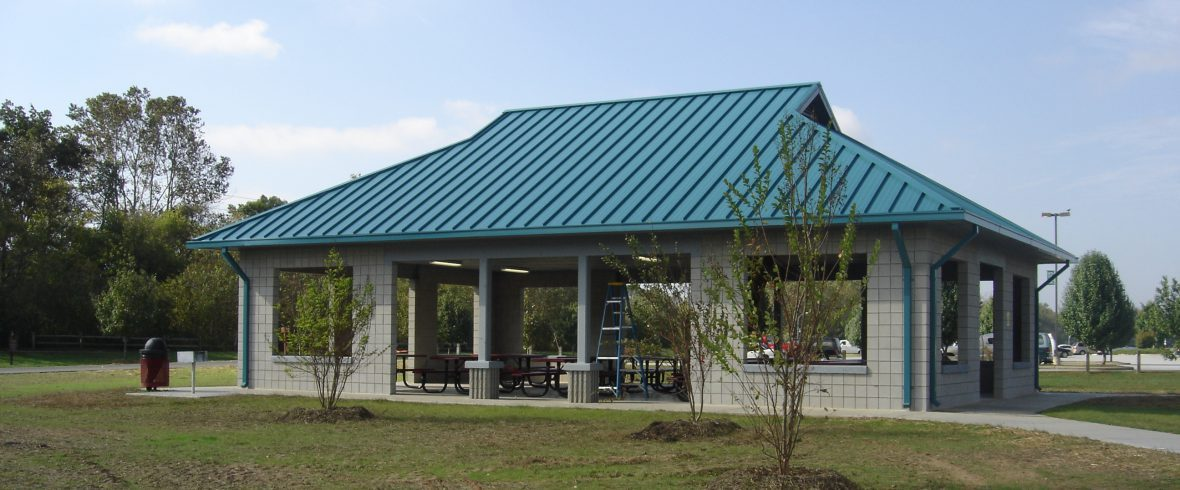 steelcase shelter at Fletcher Community Park