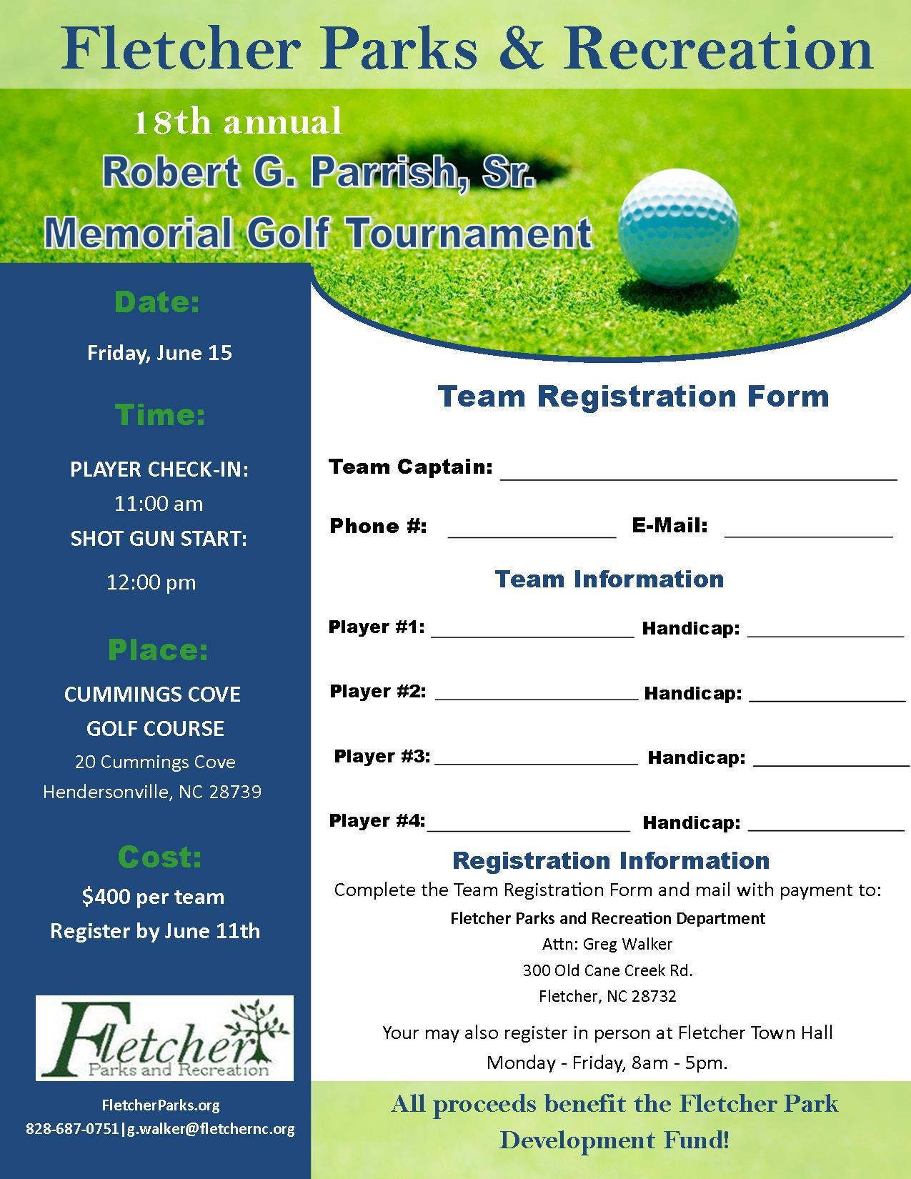 parrish memorial golf tournament town of fletcher north carolina